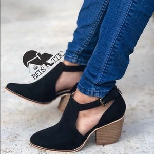 Shoes - High Quality Vegan Suede Side Cut Pointed Booties